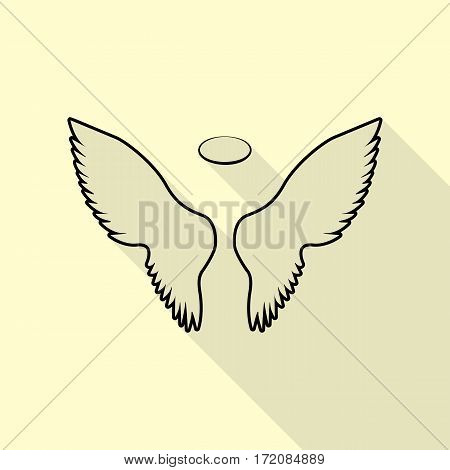 Wings sign illustration. Black icon with flat style shadow path on cream background.