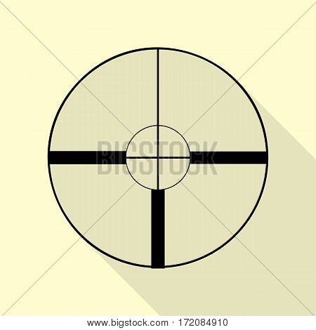 Sight sign illustration. Black icon with flat style shadow path on cream background.