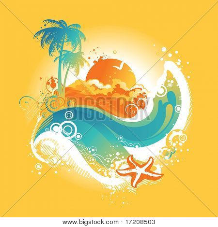 Tropical island background. See my portfolio for vector version