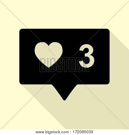 Like and comment sign. Black icon with flat style shadow path on cream background.