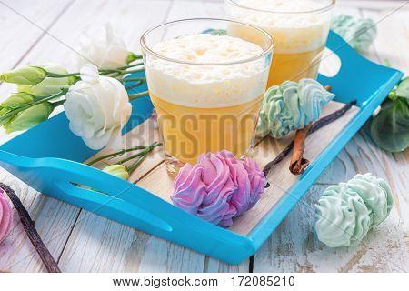 Eggnog, Marshmallow Dessert And White Eustoma Flowers. Easter Concept