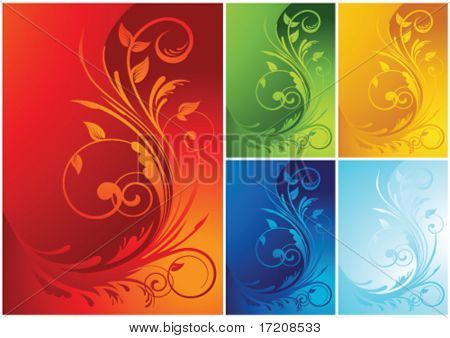Vector floral background with color variations