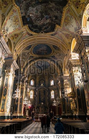 Brixen, Italy - December 26, 2016: Central nave of the main cathedral.