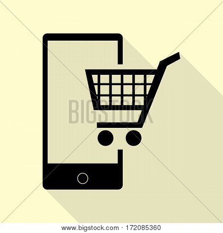 Shopping on smart phone sign. Black icon with flat style shadow path on cream background.