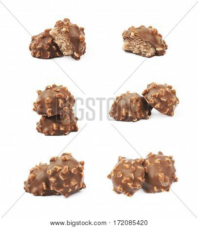 Composition of two chocolate confection candies isolated over the white background, set of six different foreshortenings