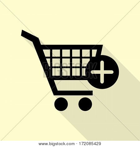 Shopping Cart with add Mark sign. Black icon with flat style shadow path on cream background.
