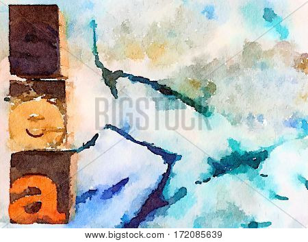 Digital watercolor painting of a sea background with block letters spelling the word sea. With space for text.