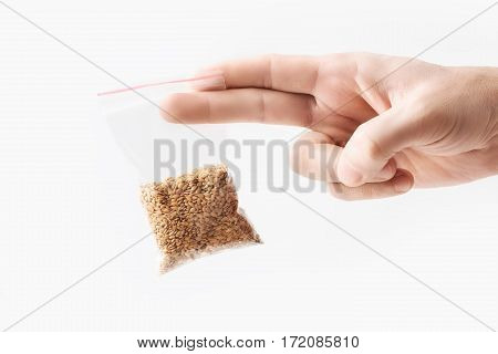 Hand holding Plastic transparent zipper bag with half raw flax seeds cereal isolated on white, Vacuum package mockup with red clip. Concept
