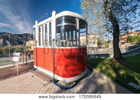 Malcesine Italy - January 18 2016: Old cable car in front of the new cableway Malcesine-Mount Baldo.