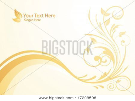 Vector autumn floral background with copy space