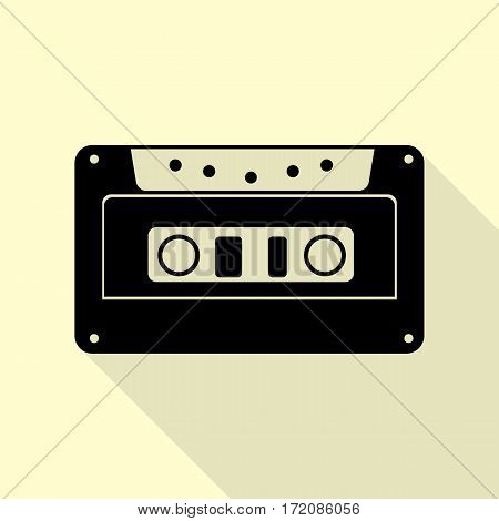 Cassette icon, audio tape sign. Black icon with flat style shadow path on cream background.