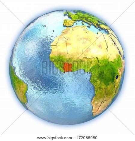 Ivory Coast On Isolated Globe