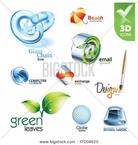 Set of vector design elements 13. 3D icons