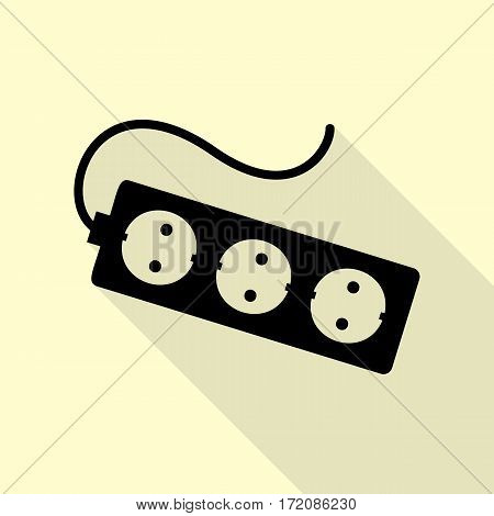Electric extension plug sign. Black icon with flat style shadow path on cream background.