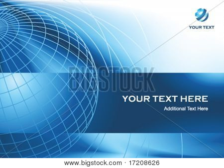 Business presentation background with globe and copy space, vector illustration