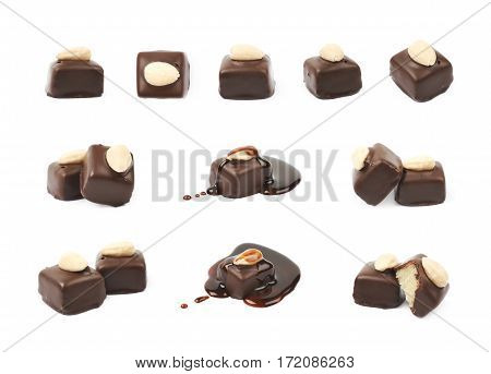 Chocolate confection candy isolated over the white background, set of multiple different foreshortenings
