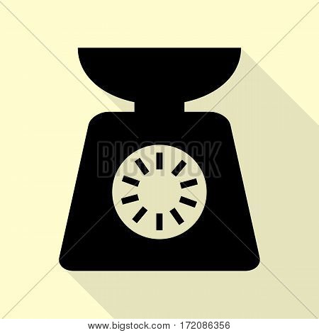 Kitchen scales sign. Black icon with flat style shadow path on cream background.