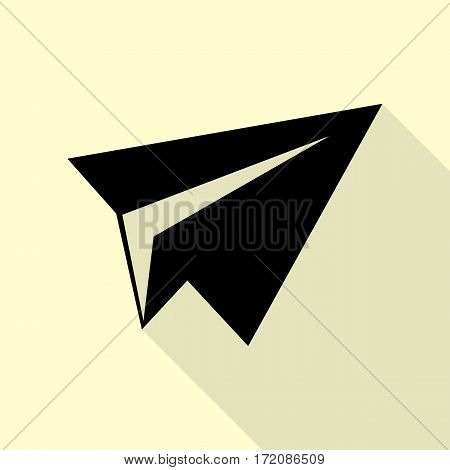Paper airplane sign. Black icon with flat style shadow path on cream background.