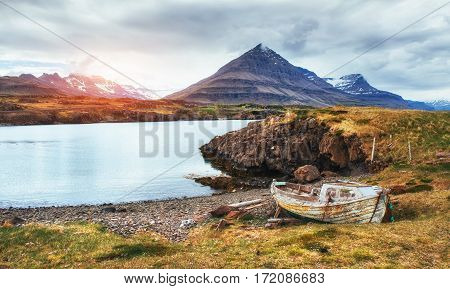 The picturesque landscapes of forests and mountains of Iceland.