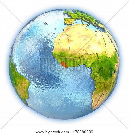 Liberia On Isolated Globe