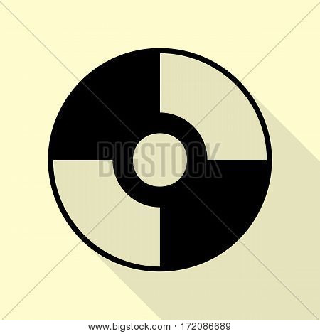 Vector CD or DVD sign. Black icon with flat style shadow path on cream background.