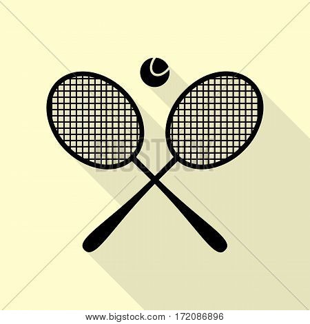 Tennis racket sign. Black icon with flat style shadow path on cream background.
