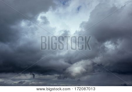 Background of dark clouds before a thunder-storm. Dramatic sky.