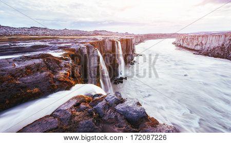 Fantastic views of Selfoss waterfall in the national park Vatnajokull, Iceland