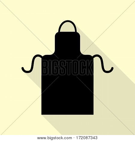 Apron simple sign. Black icon with flat style shadow path on cream background.