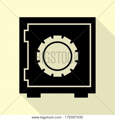 Safe sign illustration. Black icon with flat style shadow path on cream background.