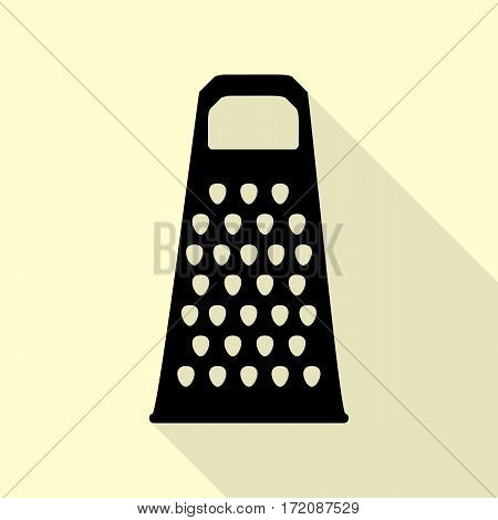 Cheese grater sign. Black icon with flat style shadow path on cream background.