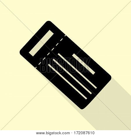 Ticket simple sign. Black icon with flat style shadow path on cream background.