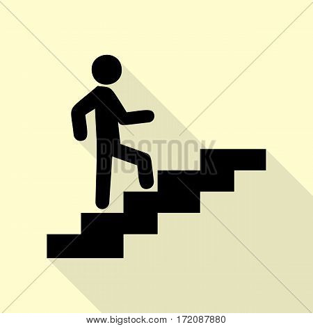 Man on Stairs going up. Black icon with flat style shadow path on cream background.