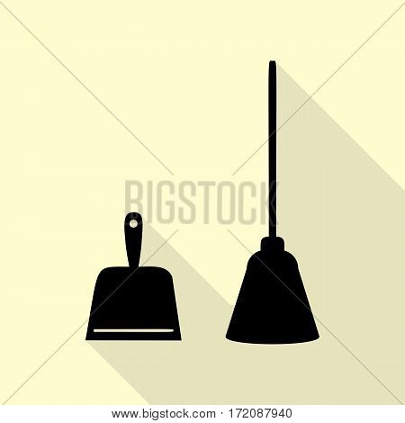 Dustpan vector sign. Scoop for cleaning garbage housework dustpan equipment. Black icon with flat style shadow path on cream background.