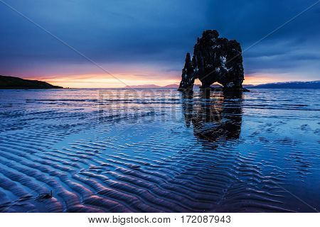 Hvitserkur 15 m height. Is a spectacular rock in the sea on the Northern coast of Iceland. Legends say it is a petrified troll.
