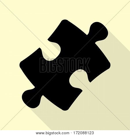 Puzzle piece sign. Black icon with flat style shadow path on cream background.