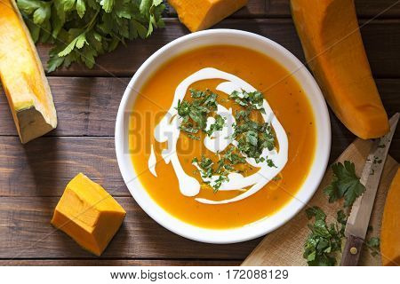 Pumpkin soup with the fresh pumpkin and parsley