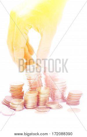Close up savings, increasing columns of coins