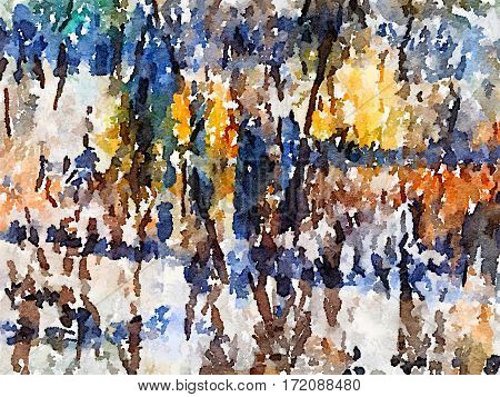 Digital watercolor painting of a black brown blue orange yellow green and white painted abstract background. With space for text.