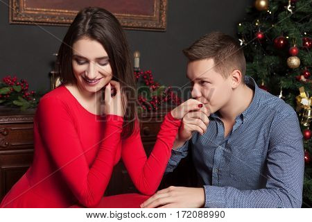 Young man confesses his love for a beautiful woman