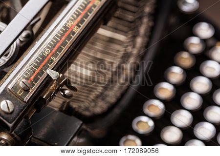 Vintage typewriter line, type bars, keys closeup