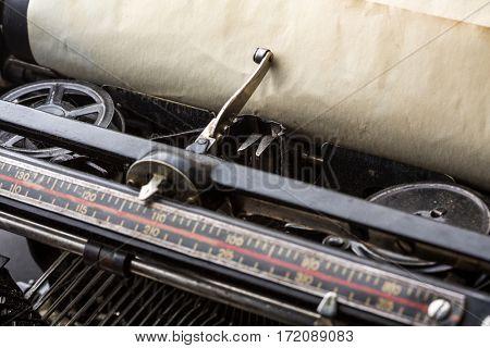 Vintage typewriter ribbon mechanism closeup