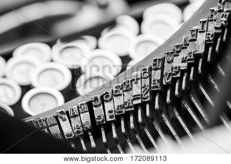 Vintage typewriter mechanism closeup image