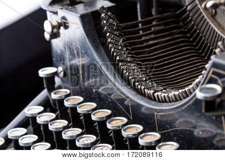 Vintage typewriter type bars closeup
