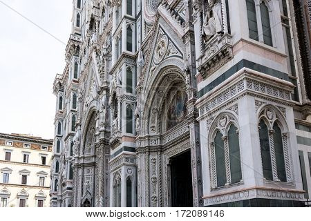 Beautiful street View of the Cathedral Santa Maria del Fiore in Florence, Italy