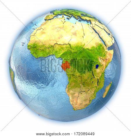 Gabon On Isolated Globe