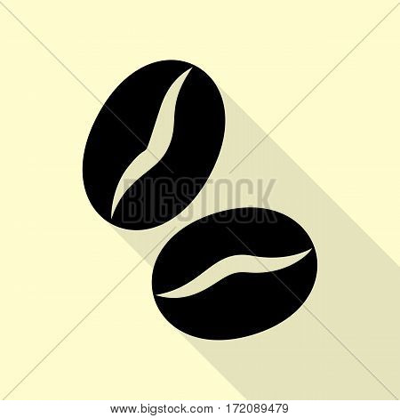 Coffee beans sign. Black icon with flat style shadow path on cream background.
