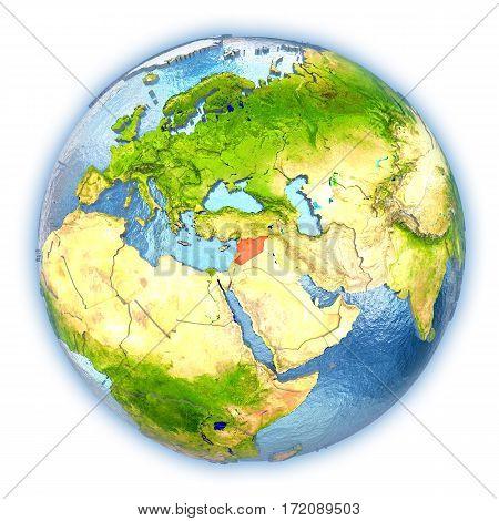 Syria On Isolated Globe