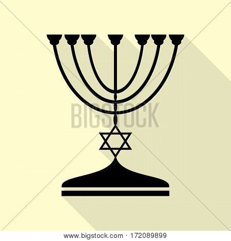 Jewish Menorah candlestick in black silhouette. Black icon with flat style shadow path on cream background.