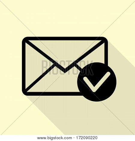 Mail sign illustration with allow mark. Black icon with flat style shadow path on cream background.